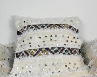 2 cushion covers handira white sequins