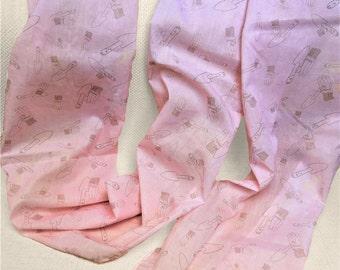 Pink gardener scarf - gardener gift - gardening gloves - gardening trowel - printed scarf - long cotton shawl - hand drawn unique scarf