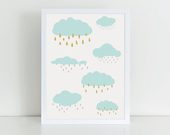 Rainy Day print, Glitter clouds nursery wall art, Nursery poster, Nursery print, Newborn gift, Kids bedroom art, Nursery decor