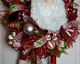 Christmas in July Sale, Deco Mesh Santa Christmas Ruffle Wreath