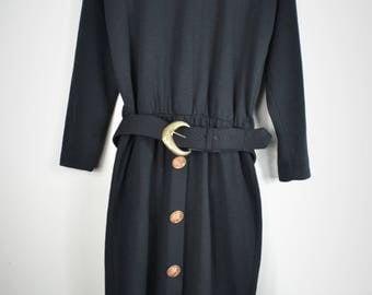 Vintage Black Sweater Dress- Belted Dress