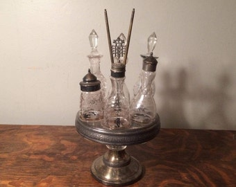 Caster Set - Antique, Silver Plated Tray w/Six Glass Cruet Bottles