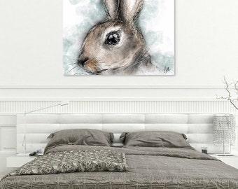 Rabbit print // A4 rabbit print // rabbit painting // rabbit art // rabbit drawing // peter rabbit nursery // rabbit lover gift