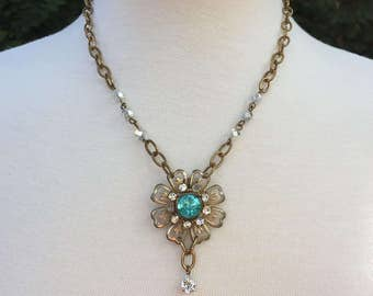 Vintage Assemblage Necklace With Blue and Clear Rhinestone Vintage Flower Brooch