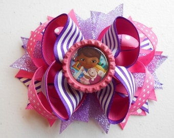 """Doc McStuffins Handmade Boutique Layered Hair Bow 4.5"""" - 5"""""""