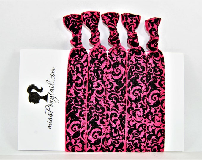 Hair Ties ~ 5 Pack, Pink and Black Damask, Handmade Hair Ties, Trendy, Ponytail Holders, Knotted Hair Ties, Elastic, Girl Gifts