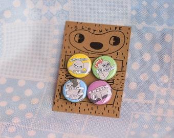 Sloth Pins/ Cute Sloth Buttons / Sloth Pins / Sloth Pin / Sloth Pinback Buttons / Funny Sloth Pins / Sloth Stuff / Sloth Pin Set / Sloth Pin