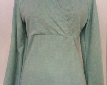 Hooded sweater/crossed bodice/long bell sleeves