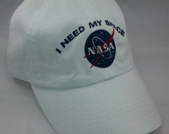 NASA I Need My Space Embroidered Baseball Hat / White Hat w/ Navy Blue Embroidery 100% Cotton Bio-Washed Unstructured Basbeall Cap