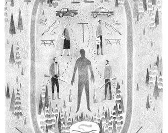Sinking A3 illustration print
