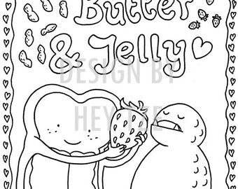 a6 peanut butter jelly colouring card a6 colouring page small colouring page