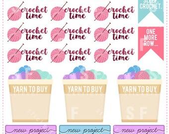 Knitting / Crochet Elements Planner Stickers for Erin Condren, Happy Planner, Plum Planner, Passion Planner (#49)