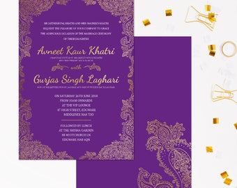 Purple and Gold wedding invitations, Indian Wedding Invitations gold, Wedding invitation sets in gold, Hindu wedding invitation suite