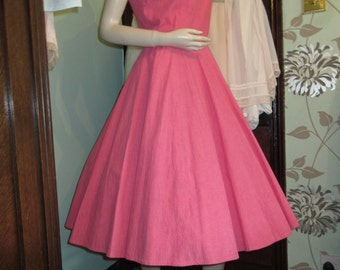 Original Vintage 1950's Barbie Pink Full Circle Swing Dress With Collar Detail & Large MOP Buttons