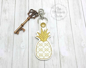Gold Pineapple Keychain - Key Fob - Argyle