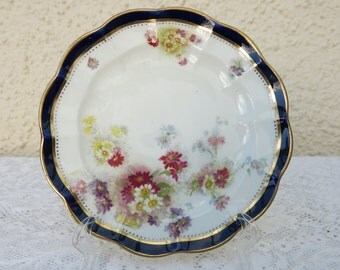 Antique Crescent /George Jones & Sons Scalloped Edged Bone China Side Plates - Set of Four