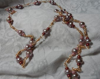 Pearl and glass beaded long necklace