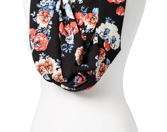 BUY 2 GET 1 FREE - Handmade, Blue with White and Pink Floral Print Infinity Scarf