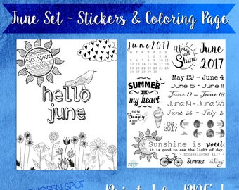 Bullet Journal stickers, June coloring page, planner accessories, bujo stickers, printable stickers, moon phases, bible verse, agenda