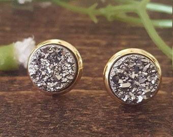 Sale18K Gold Earrings, Silver Druzy Earrings, Druzy Earrings, Druzy Stud Earrings, Raw Crystal Earrings, Stud Earrings