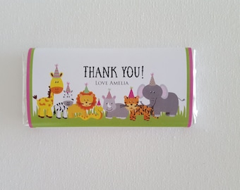 Pack of 10 ~ Jungle animal themed chocolate bar labels