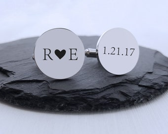 Personalized Cufflinks Engraved Cufflinks Round Initials Custom Cufflinks Gift for Him Groom Gift Jewelry Men Heart Couples Gift Anniversary