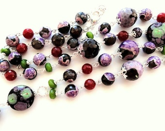 Black agate necklace beaded lampwork long jewelry necklace colorful purple agate beads large bead necklace gemstones womens necklace gift