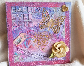 Happily Ever After: Romantic Gift for Her. mixed media wall art on wood, one of wall hanging.  Holiday gift for girlfriend, wedding gift