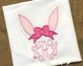 Easter Monogram Shirt / Bunny Ear Applique / Bunny Shirt / Personalized Easter Shirt / Girl Easter Monogram / Baby Easter / Toddler Easter