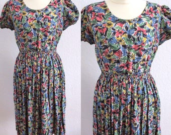WWII era 40s rayon dress with muted tones paintbrush floral print - 1940s novelty print dress with puff sleeves