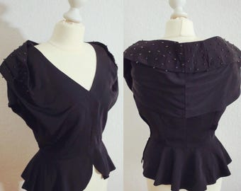Fabulous & glamourous 1940s faille top with beads, peplum and statement shoulders - chic 40s black blouse