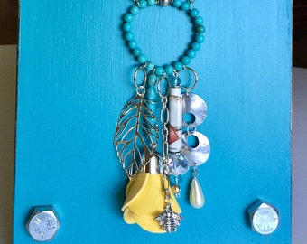 Unique Necklace for Women/ Yellow Rose,Silver Leaf,Honey Bee,turquoise beads/ boho chic/ long silver chain/ TVCableJewelrybyML/ handmade
