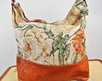 Designer Vintage (Furla made in Italy) Floral Rose Tapestry and Leather Adjustable Shoulder Handbag- Purse