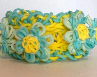 Rainbow Loom rubber band Dahlia flower Bracelet