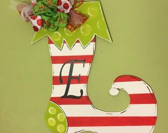 Christmas Door Hanger // Stocking Door Hanger // Monogramed Holiday Door Hanger // Initial Door Hanger // Christmas Home Decor