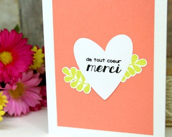 Handmade  Thank You Card in French - Hand Made Merci Card - Hand Stamped French Thank You Card - French Merci Card - Thank You Card for Her