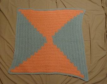 Crochet lap Blanket, Mint/Peach, Handmade