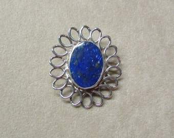 Gorgeous Lapis large STERLING SILVER pin/pendant with an elegant loop design