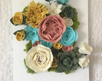 Vertical garden, hanging garden, floral decor, wall decor, frame, wall hanging, felt flowers,