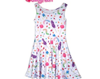 Colorful Candy Dress Candies Skater Dress All Over Print Dress In Stock & MTO Sz Xs-5XL