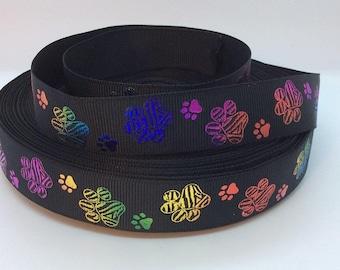 "7/8"" Bright Foil Paw Prints on Black - Grosgrain Ribbon"