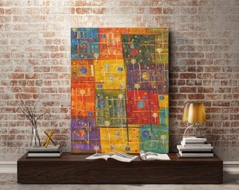 Large wall painting 90х70 cm Orange Yellow Red Blue Abstract painting Squares Intuitive art