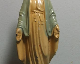 "Mid-Century Metal Miraculous Mary Statue 5"" Tall"