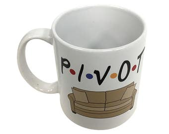 Pivot Mug From Friends TV Show Coffee Cup P-I-V-O-T F-R-I-E-N-D-S F*R*I*E*N*D*S Couch Sofa Ross Rachel Chandler Quote Tea Gift 11 oz White