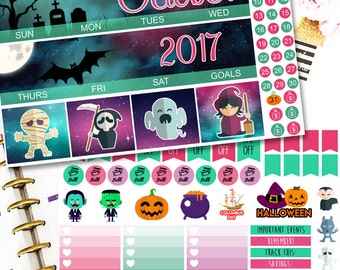 MK01 LIMITED EDITION! | Spooky Electrofunk | Monthly Planner Kit | Erin Condren Stickers | Halloween Stickers | Happy Planner Stickers