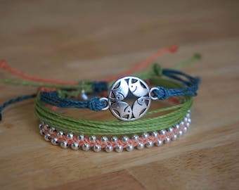 Set of 3 Bracelets: Teal, Green & Coral with Silver Elephant Circle Charm and Silver Beads - adjustable wax string friendship bracelets