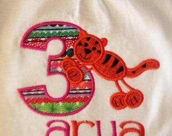 Zoo tiger birthday shirt, number birthday personalized shirt, stick tiger shirt, girls birthday party top, boys name birthday shirt, striped