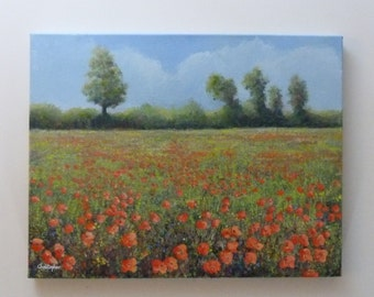 Landscape painting - Poppies by a meadow.