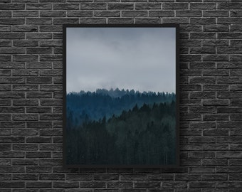 Dark Forest Print - Forest Photography - Forest Landscape - November Photo - Grey Tones - Vertical - Forest Wall Art - Nature Wall Decor
