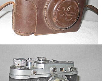 Vintage Leica 35mm Rangefinder Camera With Leather Case Russian Copy Zorki 1:3.5 5cm lens works